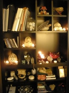 Peaceful - Candle lit book case